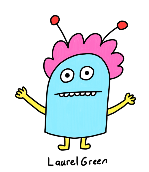 a drawing of a weird little creature with antennae