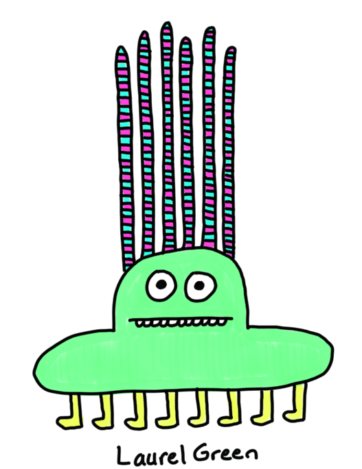 a drawing of a weird eight-legged creature with six very long striped spike coming out of its head