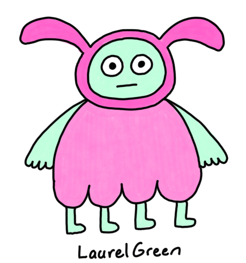 a drawing of an alien bunny with four legs