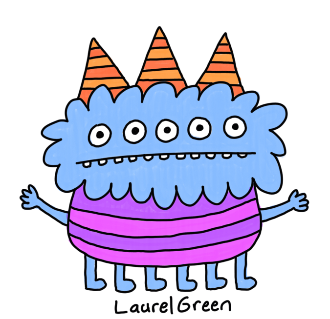 a drawing of a stripey monster with three horns, five eyes and six legs