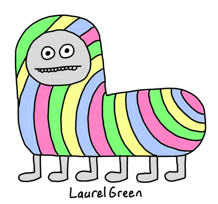 a drawing of a colourful striped dog with six legs