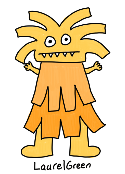 a drawing of an orange spiky creature with fangs