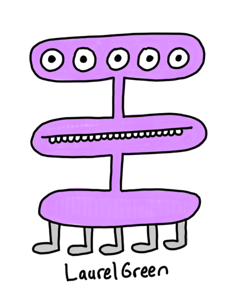 a drawing of a weird purple creature with its five eyes and mouth on different levels. It also has five legs.