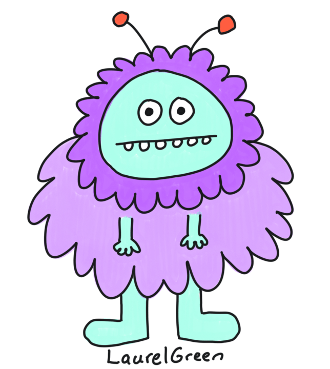 a drawing of a fuzzy purple thing with antennae
