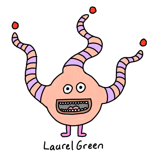 a drawing of a weird round critter with worms growing out of its head