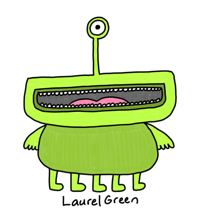 a drawing of a green creature with one eyestalk, a large mouth and five legs