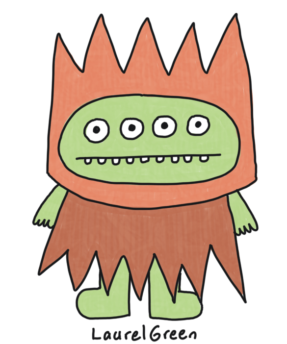 a drawing of a creature with four eyes and spiky brown clothes
