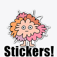 a photo of a vinyl sticker with an image of a lumpy pink fuzzy creature on it