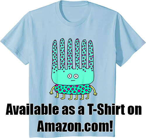 a blue t-shirt with an drawing of a six-legged turquoise alien that's covered with pink spots and has six long spike coming out of its head