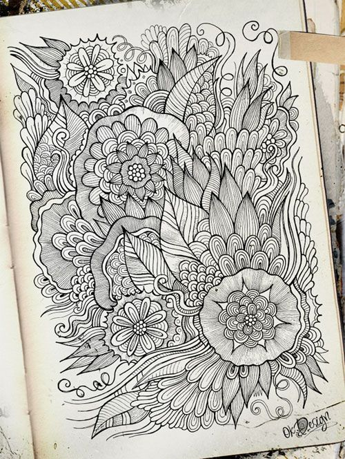 Intricate HandDrawn Flowers Direct from Olkas