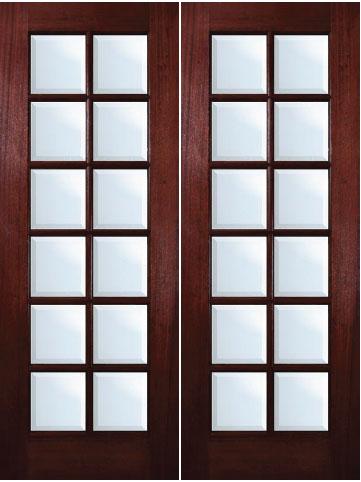 Mahogany Exterior Doors  12Lite Double Door
