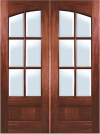 Mahogany Arch 6-Lite Double Entry Door