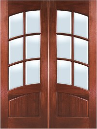 Mahogany Arch 6-Lite with Arch Rail Double Entry Door