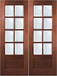 True Divided Lite Solid Mahogany 8-Lite Exterior Double Door
