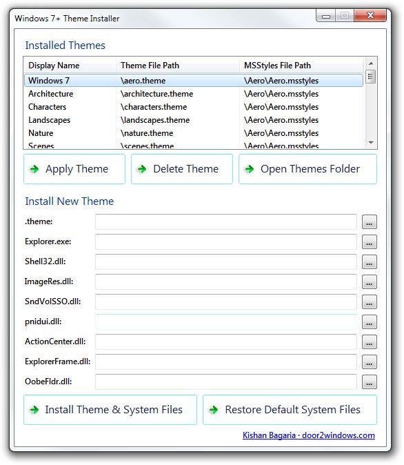 Windows 7+ Theme Installer: Install/Apply/Delete Themes Easily