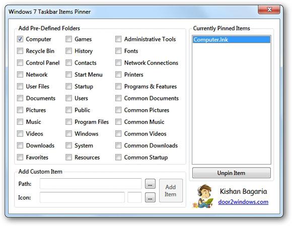 Windows 7 Taskbar Items Pinner: Pin Files, Folders & Web