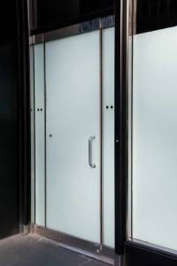 Black metal and Frosted glass Double Doors in Creamy Stone