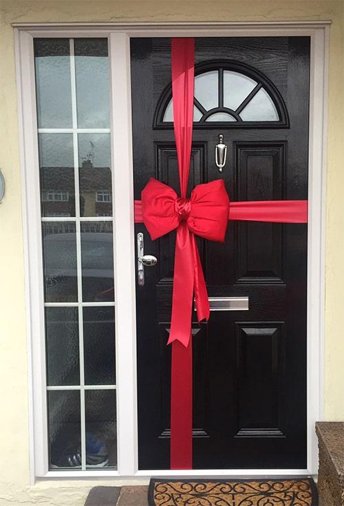 Satin Red Door Bow Decoration Kit Christmas Door Bows