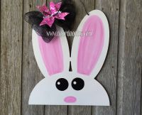 Bunny cutout Easter front door decoration hang hanger wood