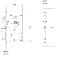 Emtek 2116 Dummy Pocket Door Modern Mortise Lock