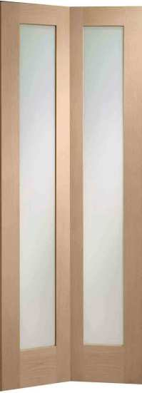 Pattern 10 Glazed Oak Internal Folding Doors