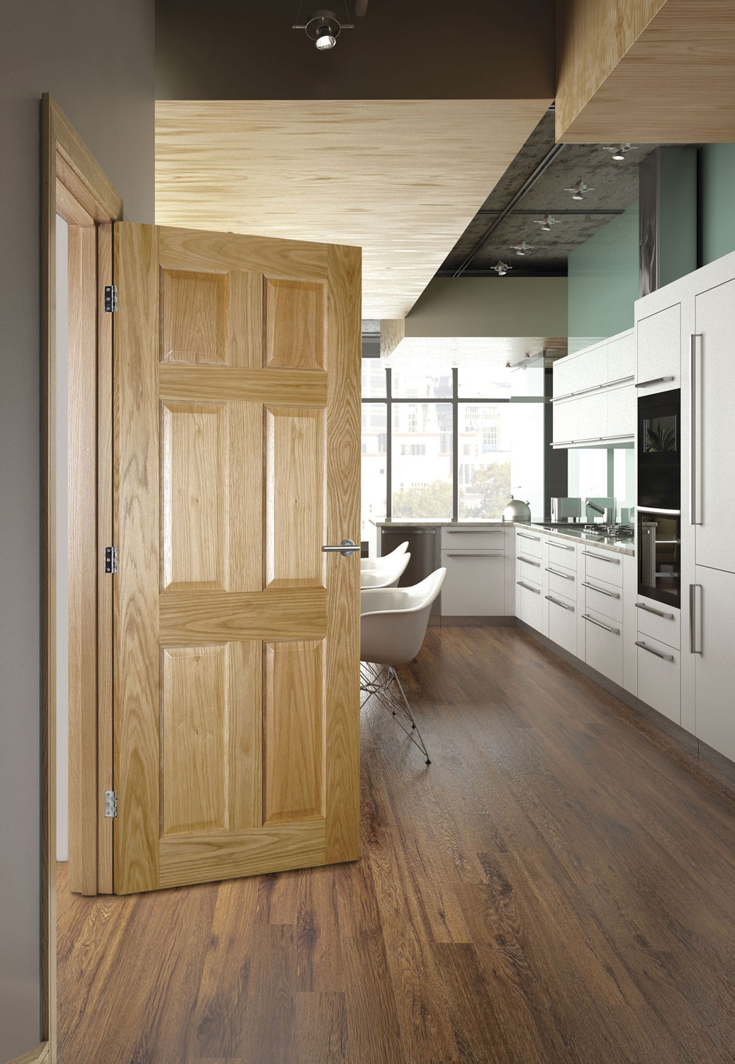 Oxford 6 Panel Internal Prefinished Oak Doors