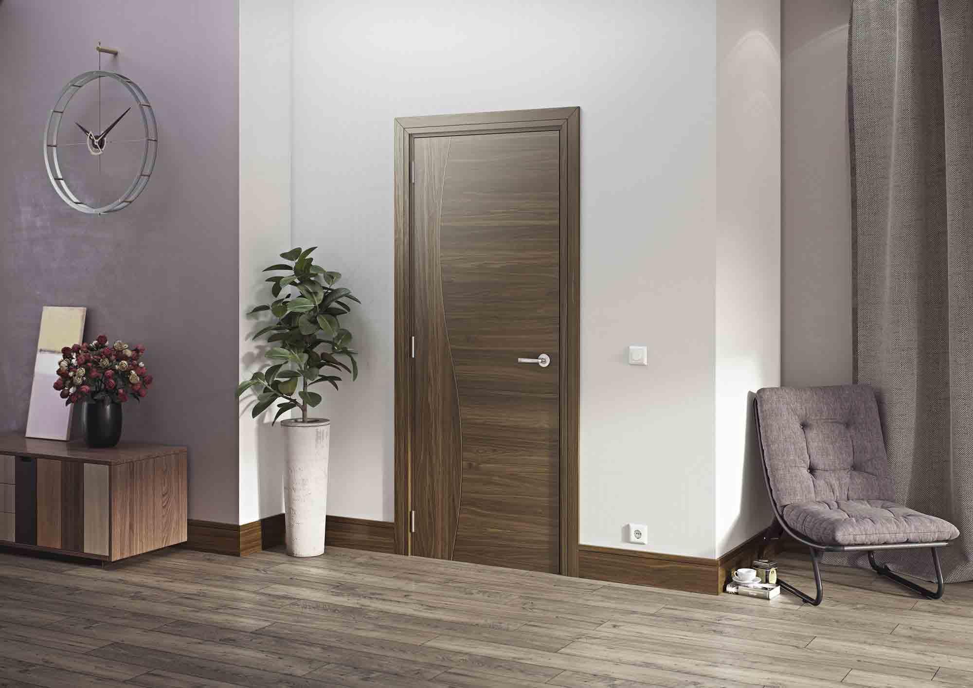 Cadiz Grooved Internal Pre Finished Walnut Doors