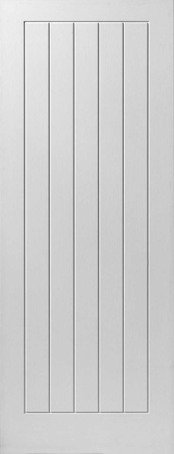 Cottage Grooved Textured White Primed Doors
