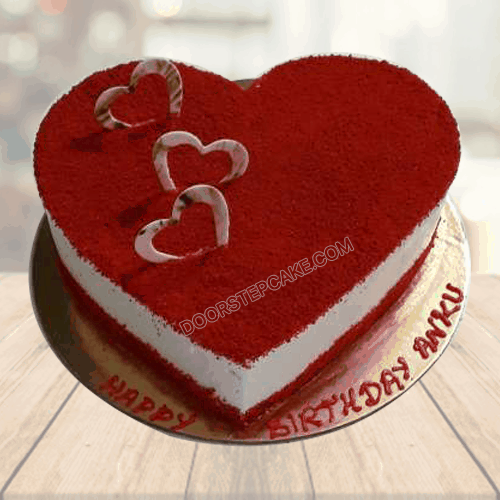 Order 3 kg birthday cake online at a low price from faridabadcake and avail free delivery. 1kg Red Velvet Heart Shaped Cake Faridabadcake