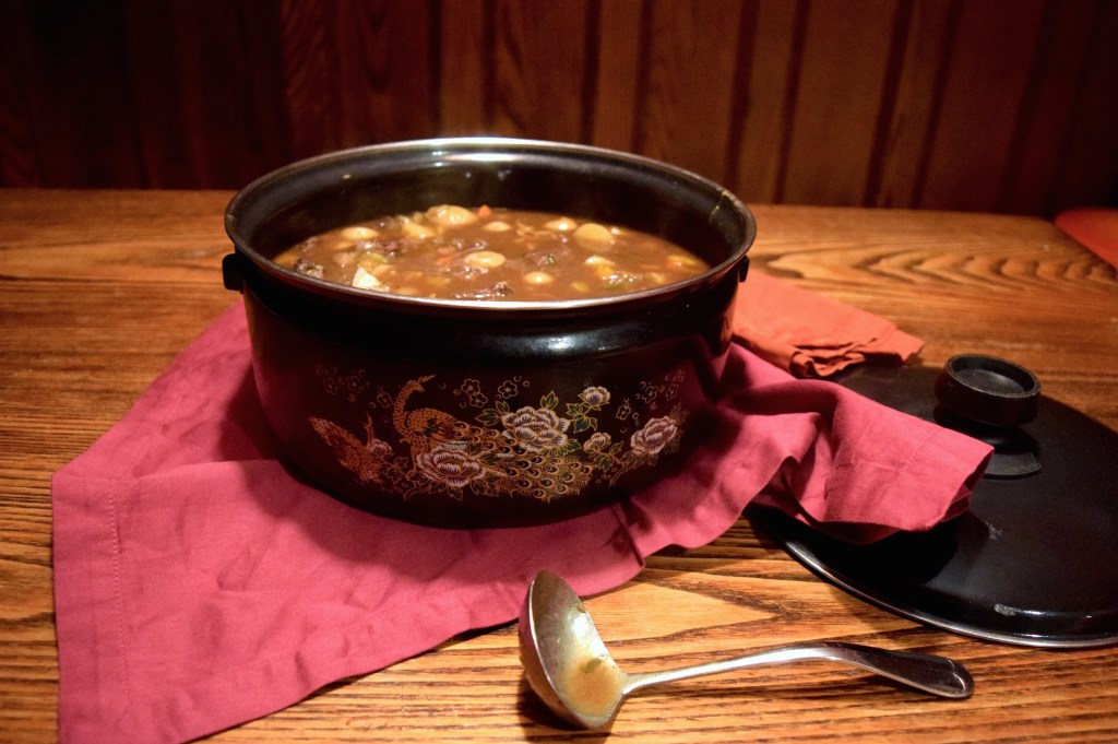 Vintage Pot with beef stew