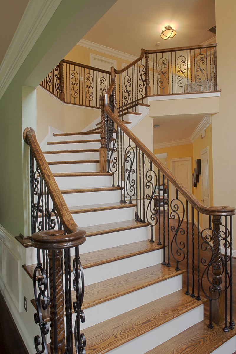 Gentil Iron And Wood Stair Railing Designs