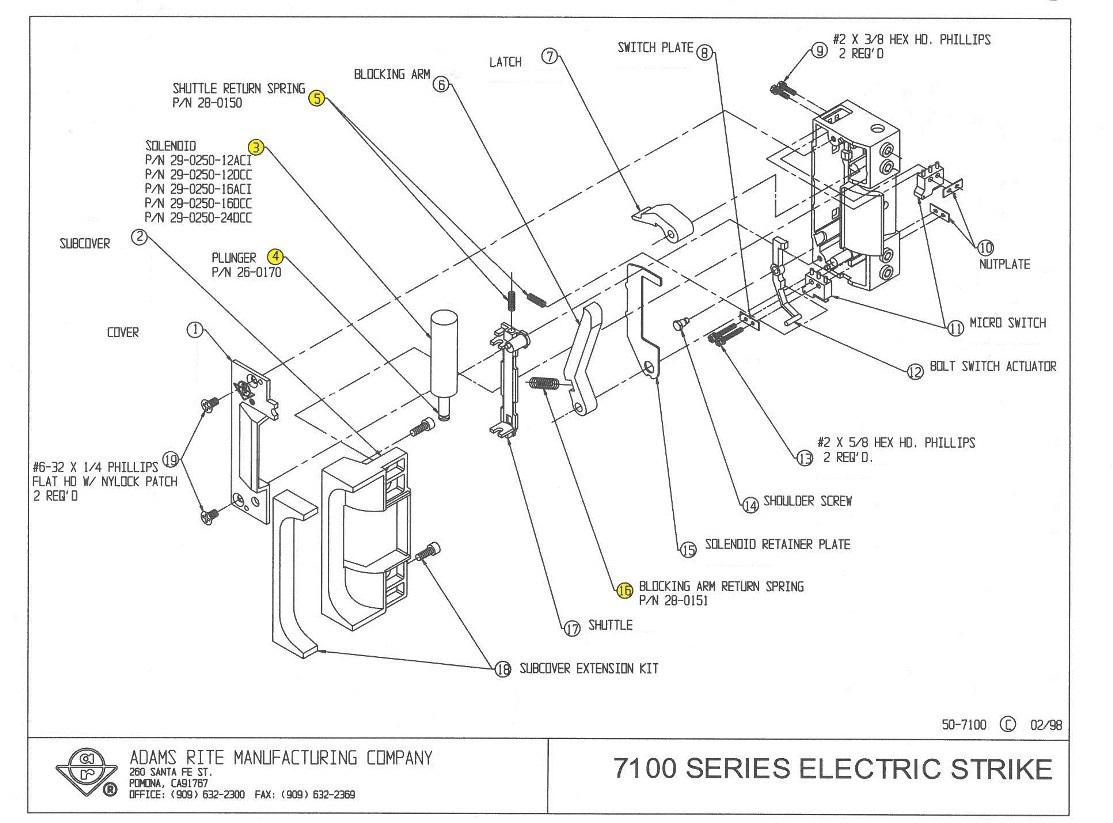electric strike wiring diagram isuzu trooper adams rite 29 0250 12dcc solenoid 12vdc cont or 24vac int