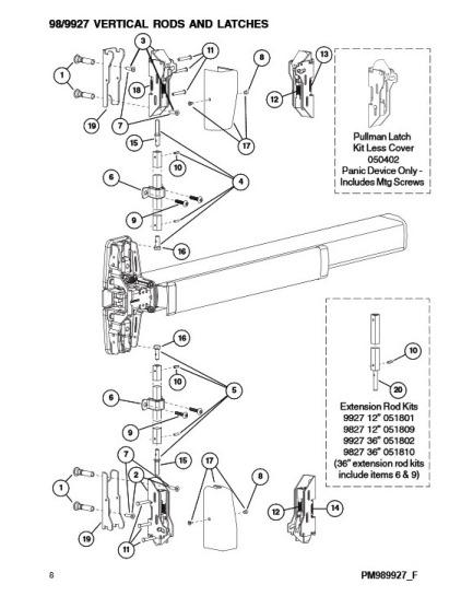 Von Duprin 98 or 99 Series Vertical Rod Exit Device