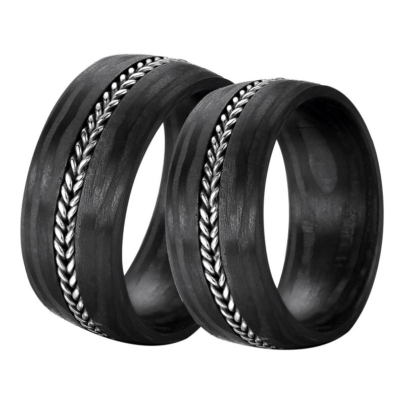 DOOSTI Carbon Ringe  Partnerringe Carbon mit Edelstahl  DOOSTI