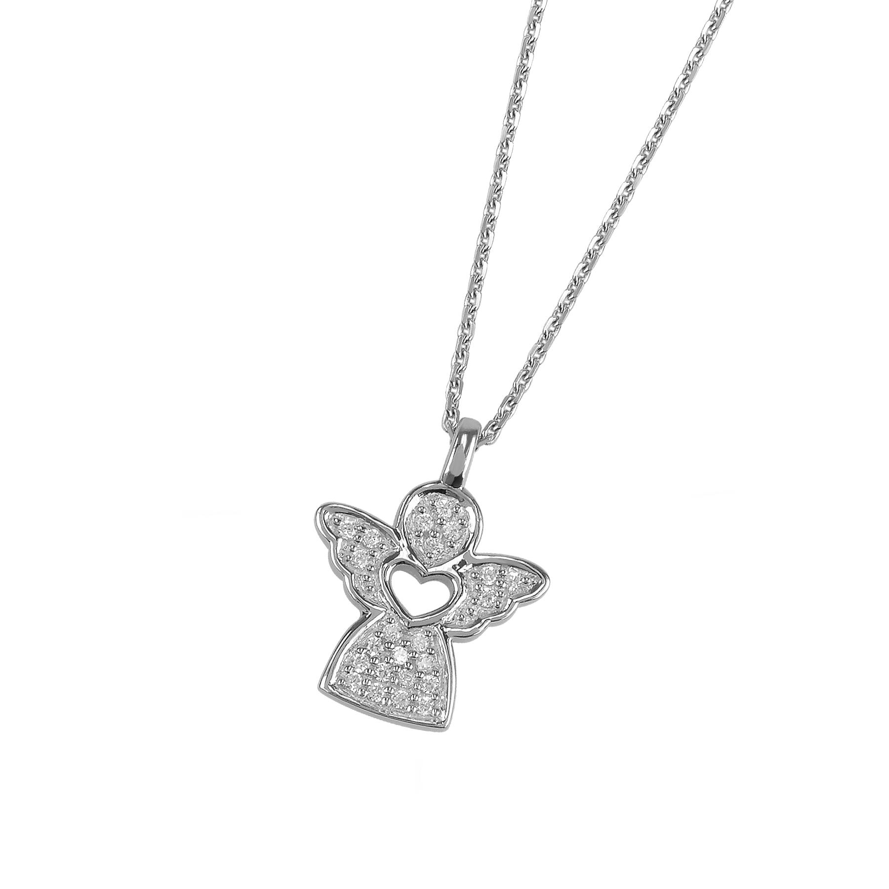 Damen Collier Engel 925 Silber rhodiniert