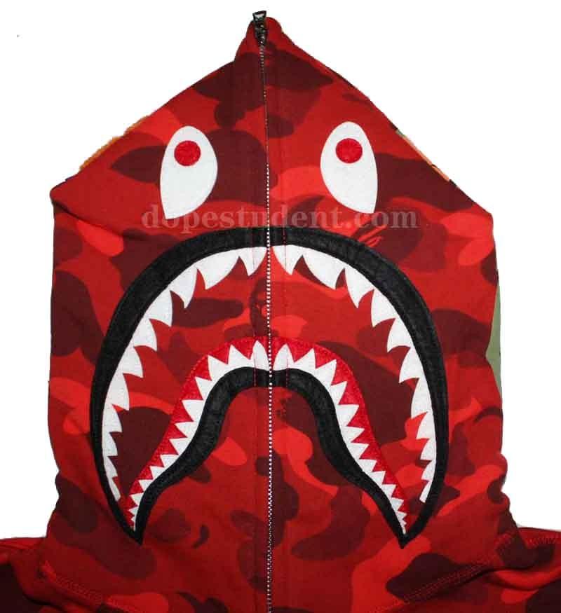 61bd3b121cc7 bape hoodie red camo camo zip bape shark hoodie dopestudent