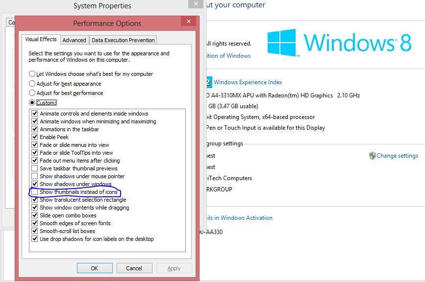Fixe windows not showing thumbnails