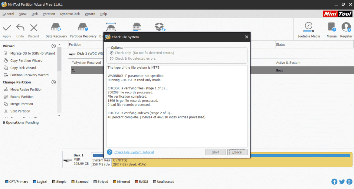 Partition Assistant wizard