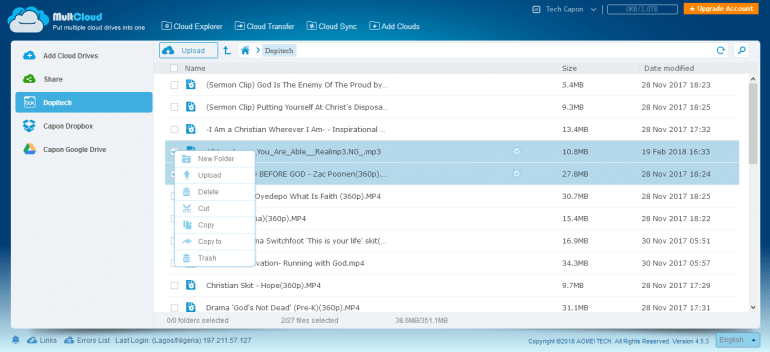 multcloud file manager - one-click transfer
