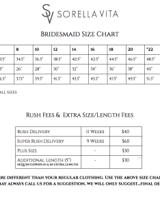 Note bridesmaids sizes are different than your regular clothing use the above size chart to determine which is best for you also measuring  charts doreen leaf designs rh doreenleafdesigns