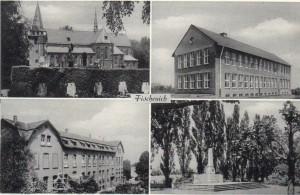 Postkarte, zur Verfügung gestellt von Andreas Friedsam, zeigt die Kirche, Schule, das Kloster und das Ehrenmal am Rosellenplatz