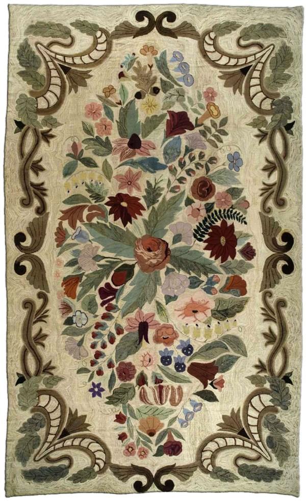 Hooked Rugs Rag Carpets Large Wool Floral Rug