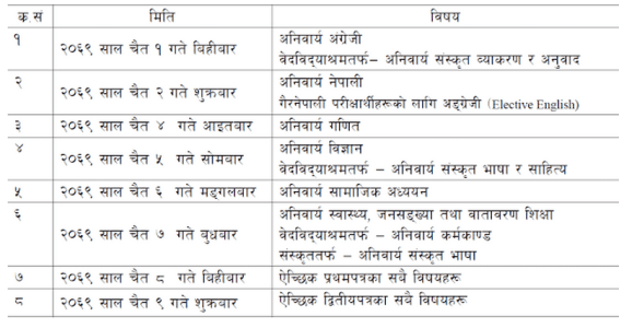 2069 SLC examination timetable