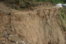 Eroded section of the road.