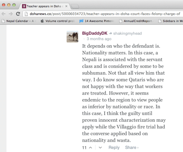 Comment about Nepalese on May 9 Doha News article