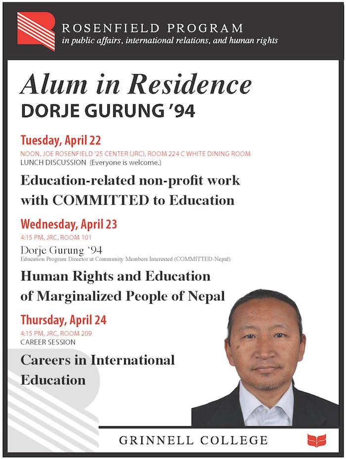 Dorje Gurung Alum in Residence - flyer 75px