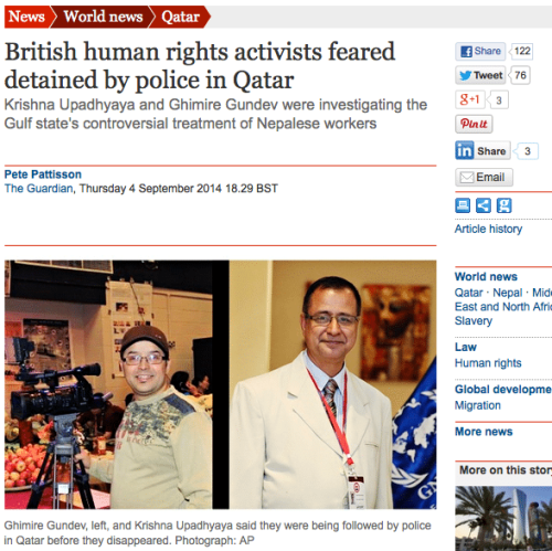 """Disappeared"": Nepalese-Brits in Qatar"