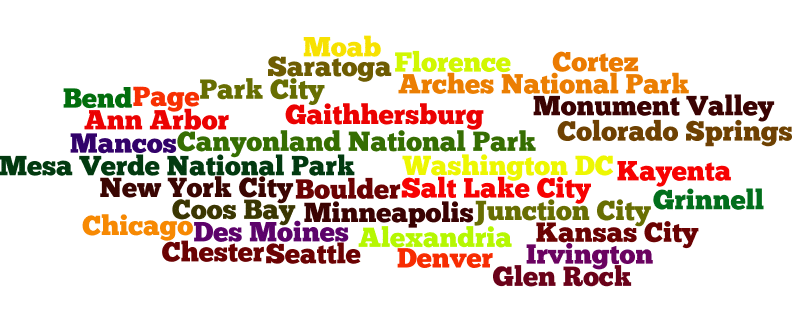 The thirty-three cities and some really awesome places of interest I visited. (Details about visits to places of interest will be coming soon.)