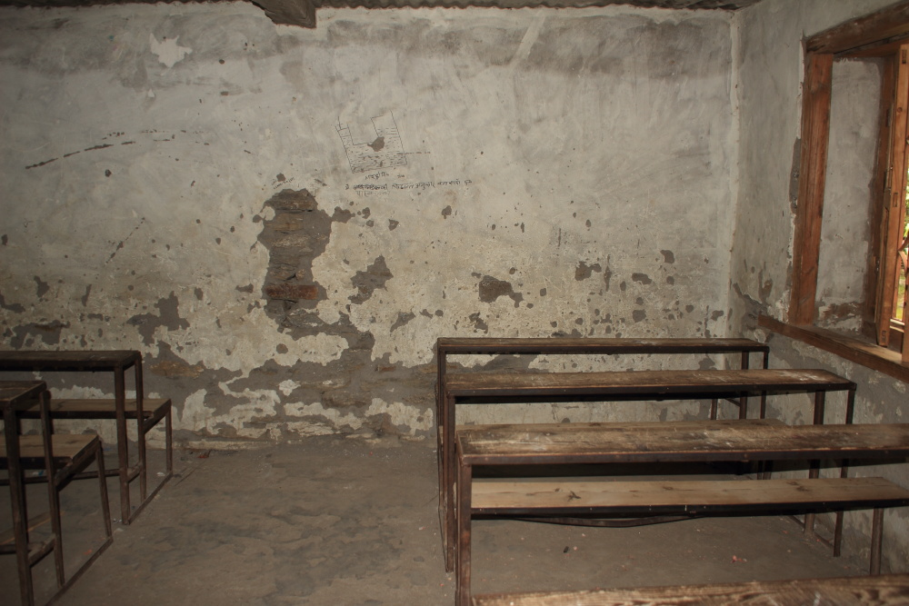 Back of the a typical government (public) school classroom in Nepal.