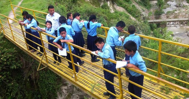 JU fifth graders on the bridge 4-feat image